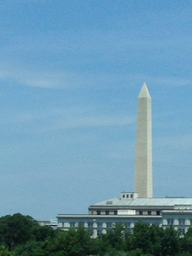 The Washington Monument tours over all buildings in the nations capital.  Recently re-opened after the 2011 earthquake.