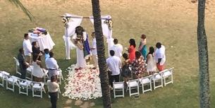 Fascinating to watch a traditional Hawaiian wedding on the beach
